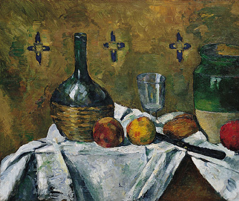 Still Life Flask, Glass, and Jug (Fiasque, verre et poterie), ca.  1877. Oil on canvas, Paul Cézanne