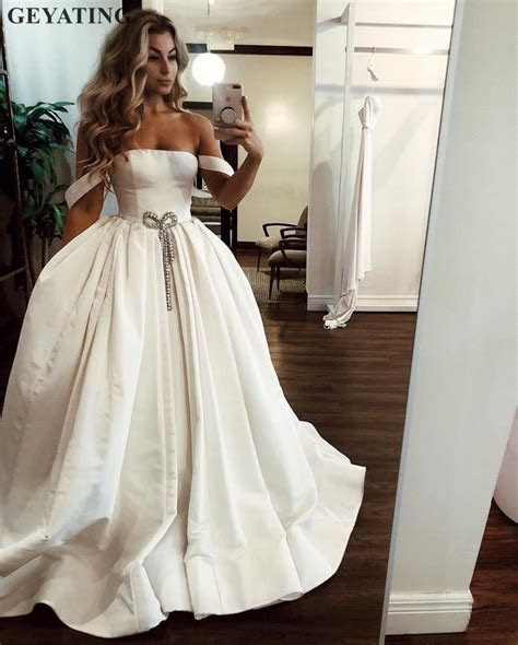Simple Ivory Satin Ball Gown Wedding Dress 2019 Elegant
