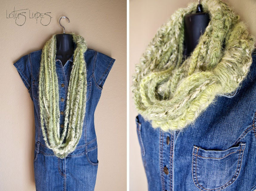 Lime Green Stripe Infinity Lotus Lupe Scarf