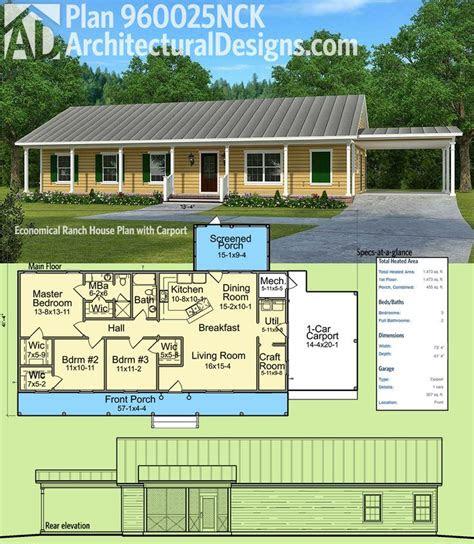 plan nck economical ranch house plan  carport