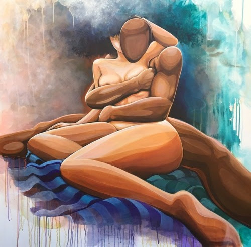 Love Art Painting Cuddling Cuddle King Queen Afrocentric Black Women