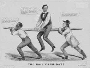 """""""The Rail Candidate"""": Lincoln's 1860 candidacy is held up by the slavery issue (slave on left) and party organization (New York Tribune editor Horace Greeley on right)"""