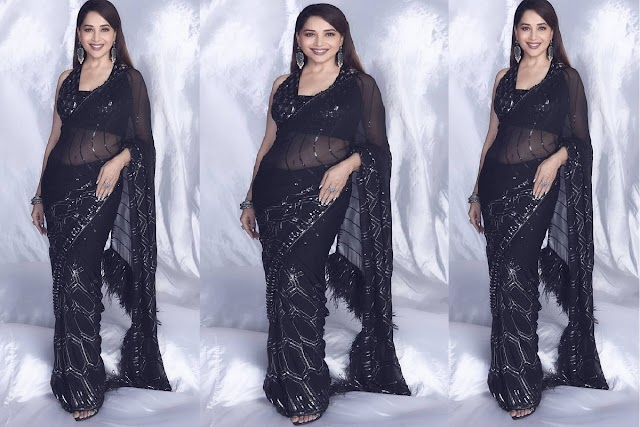 Madhuri Dixit Hot Viral Photos: Body Wrench! Madhuri Dixit is spreading the fire of beauty in her silk sari