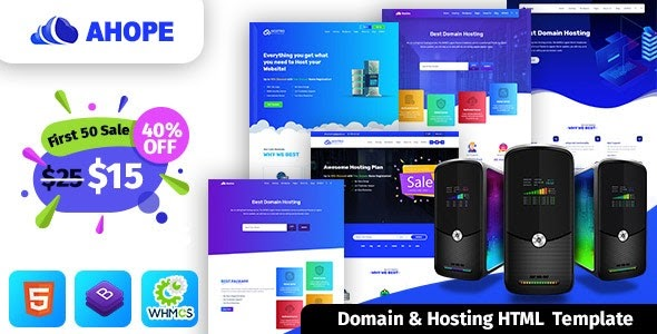 Ahope v1.0 - Hosting Template With WHMCS
