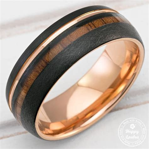 Black & Rose Gold Tungsten Ring with Offset Strip and Koa