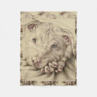 Drawing of a White Pitbull on Blanket Fleece Blanket
