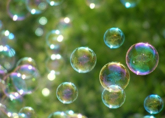 Wonder - 5x7 Fine Art Photograph - Bubbles on Green