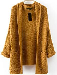Pockets Chunky Knit Khaki Coat