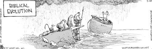 Biblical Evolution - Non Sequitur Cartoon - click for larger image
