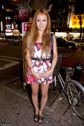 Shibuya Girl in Floral Dress With Woven OZOC Bag
