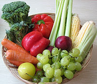 basket of fresh fruits and vegetables