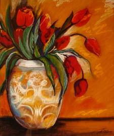 Bodegón de flores. Pintura pastel