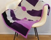"Recycled Cashmere ""Kid"" Blanket: Purple, Black, and Grey - HogansGoat"