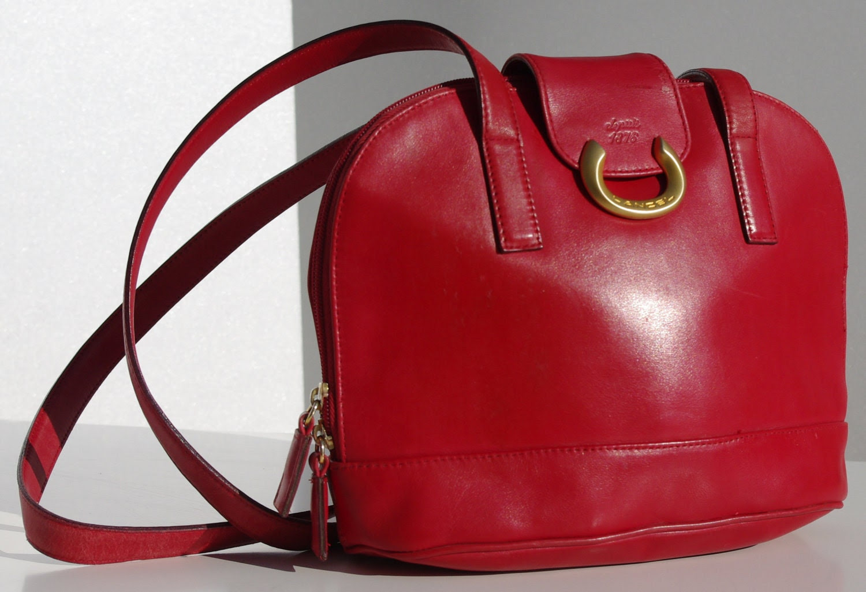 Lancel, French Vintage Bag, Rasperry Red Leather Bag, Red Shoulder Bag