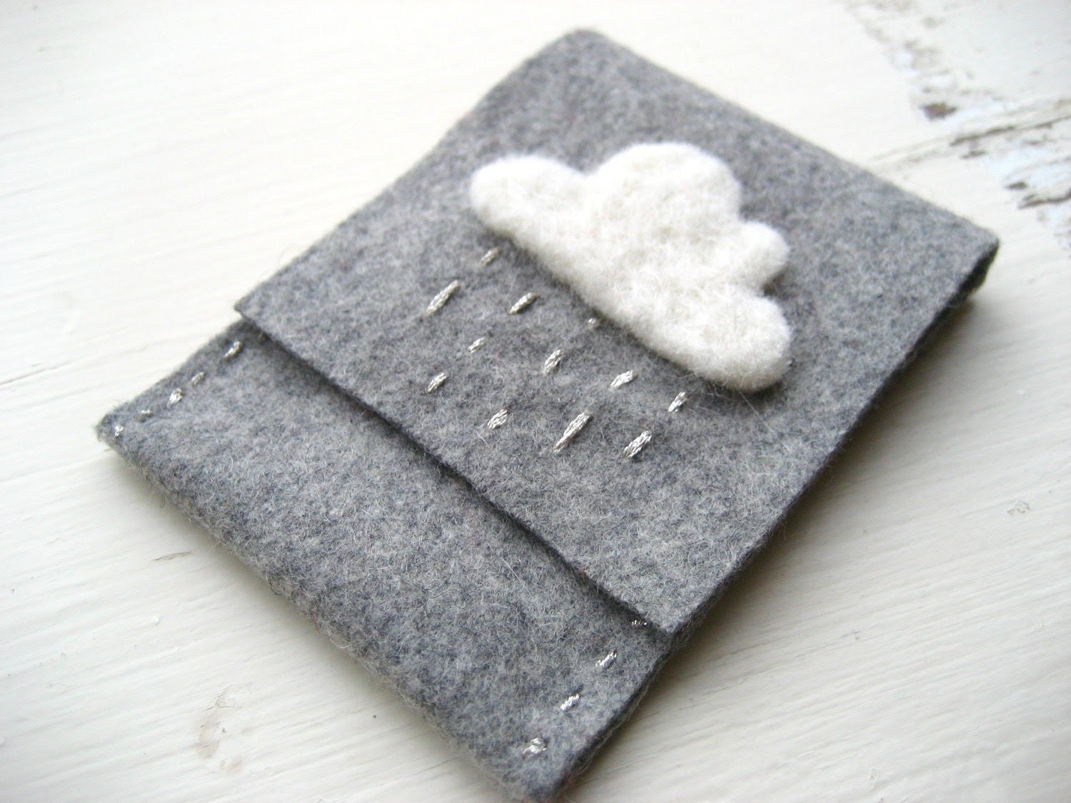 Grey Felt Card Holder/Wallet with White and Silver Rain Cloud