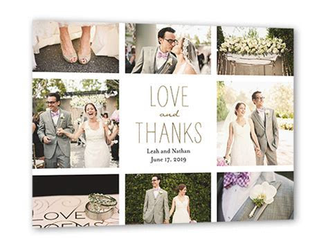 Love And Thanks Grid 3x5 Wedding Thank You Card   Shutterfly