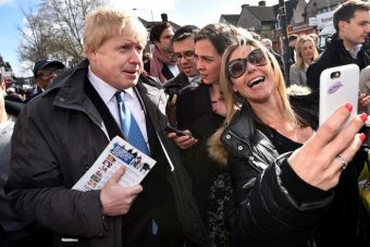Boris Johnson poses for a selfie