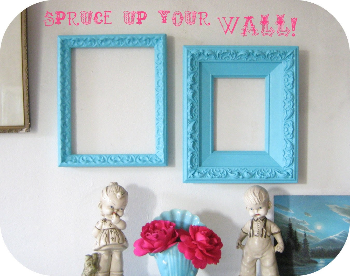 Pair Vintage Frames Turquoise Wall Decor by ShabbyVintageMom