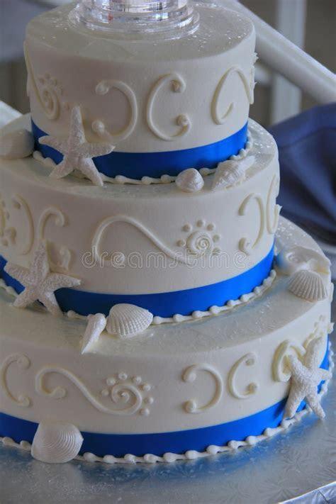 Three tier, Beach Themed, Wedding Cake Stock Photo   Image