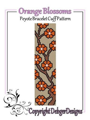 Orange Blossoms - Beaded Peyote Bracelet Cuff Pattern | DebgerDesigns - Patterns on ArtFire