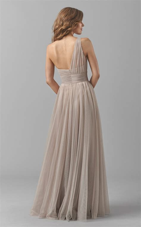 Long Tulle Beige Empire Waist Open Back One Shoulder