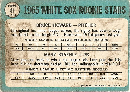 White Sox Rookies (back) by you.