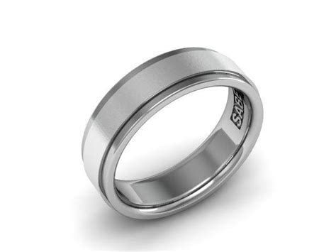 Mens Wedding Band In Sterling Silver 7mm Brushed Center