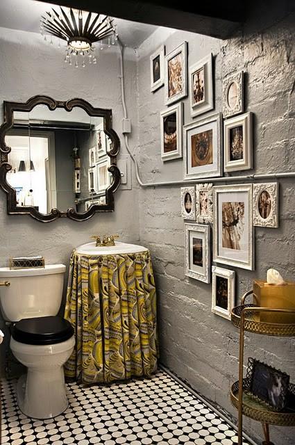 Gray and Yellow Bathroom - Transitional - bathroom - Inhabit Design