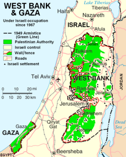 Map showing areas of Palestinian National Authority control (in the West Bank) and Hamas Government control (Gaza Strip) in green (situation as of 2007).