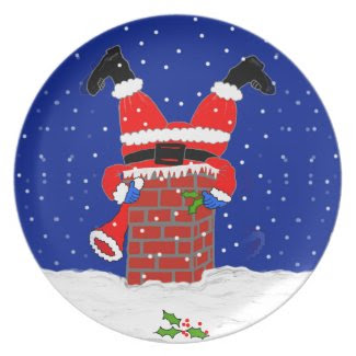 Santa in the Chimney on Dinner/Party Plate