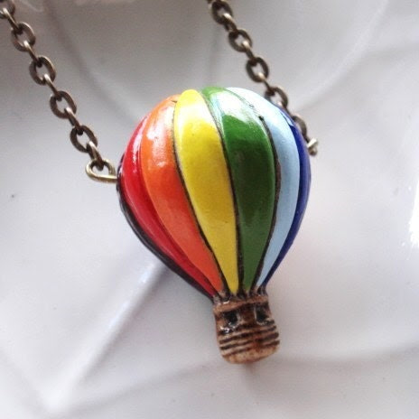 Hot Air Balloon Necklace, Ceramic Bead on Antiqued Brass Chain, Balloon Jewelry, French Ephemera, Carnival, Paris Jewelry, Pendant Necklace