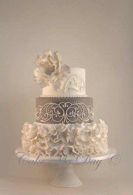 """Elegance"" ~ Wedding Cake ~ Ruffles, crystals, piping and"