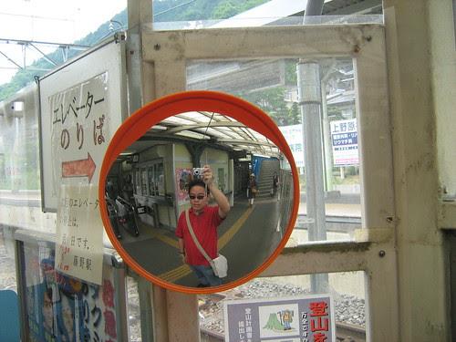 Taking a photo of myself at Fujino Station