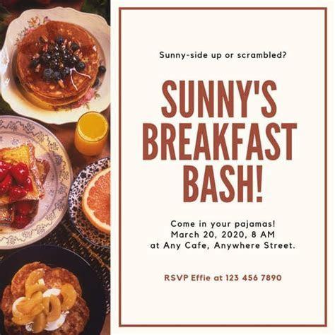 Customize 46  Breakfast Invitation templates online   Canva