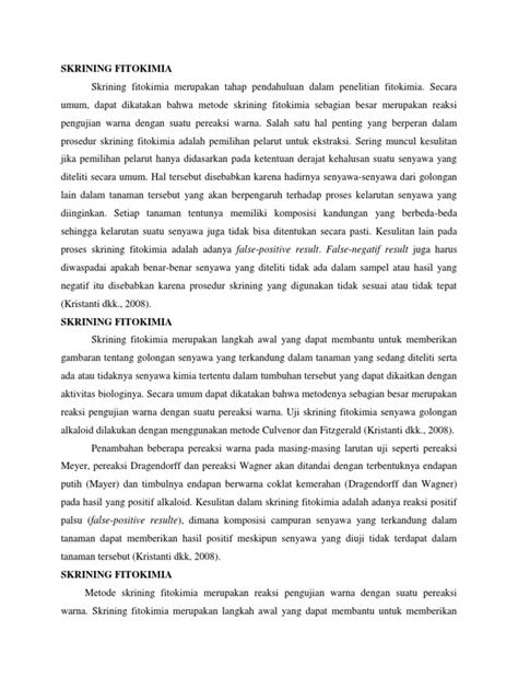 PENGERTIAN SKRINING FITOKIMIA PDF
