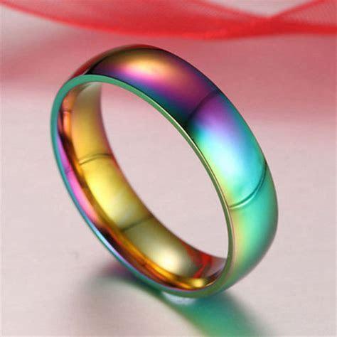 Men Women Rainbow Classic Colorful Ring Titanium Steel
