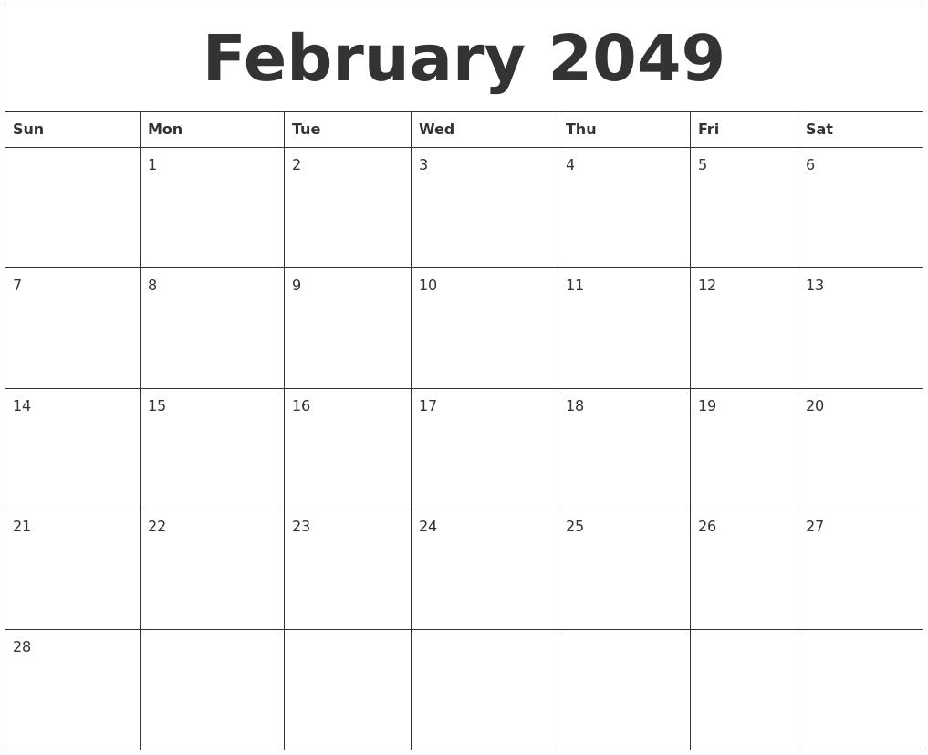 february 2049 free blank calendar template