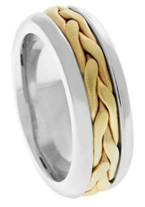 14K. Two Tone Band, Mens Wedding Band, Gold Ring, Two Tone