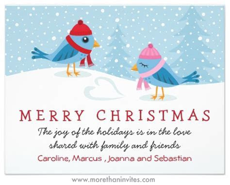 Birds in the snow, cute Christmas holiday card   More than