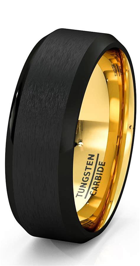 mens wedding band black gold tungsten ring brushed surface