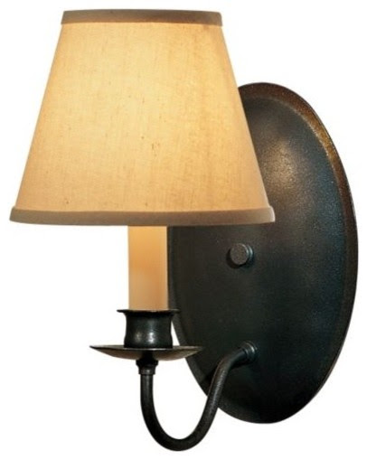 Single Light On Oval Back Wall Sconce With Shade - contemporary ...