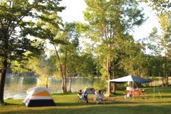 tent camping at a park