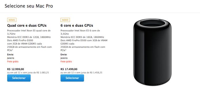 Mac Pro 2013 já é vendido na Apple Store brasileira com preço assustador (Foto: Reprodução/Apple Store)