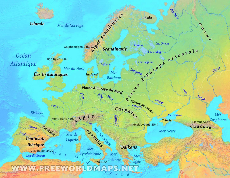 Carte De Leurope Avec Les Mers.Mer Du Nord Carte Carte