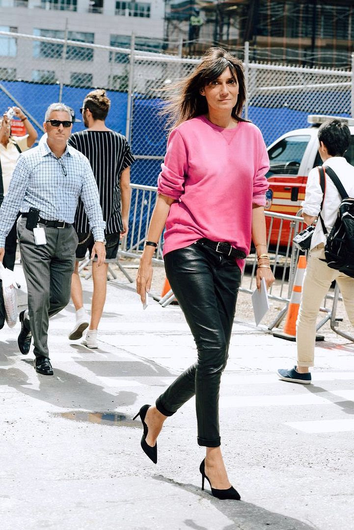 Le Fashion Blog -- Emmanuelle Alt in a bright pink sweatshirt, leather pants and d'orsay pumps-- NYFW Street Style Via Style -- photo Le-Fashion-Blog-Emmanuelle-Alt-Bright-Pink-Sweatshirt-Leather-Pants-Dorsay-Pumps-NYFW-Street-Style-Via-Style.jpg