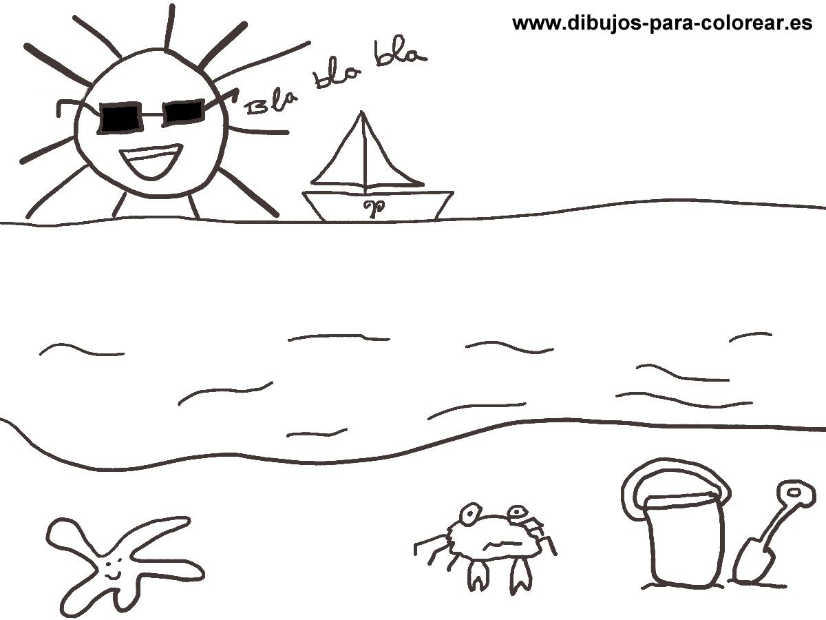 El Sol Y La Playa Dibujos Para Colorear