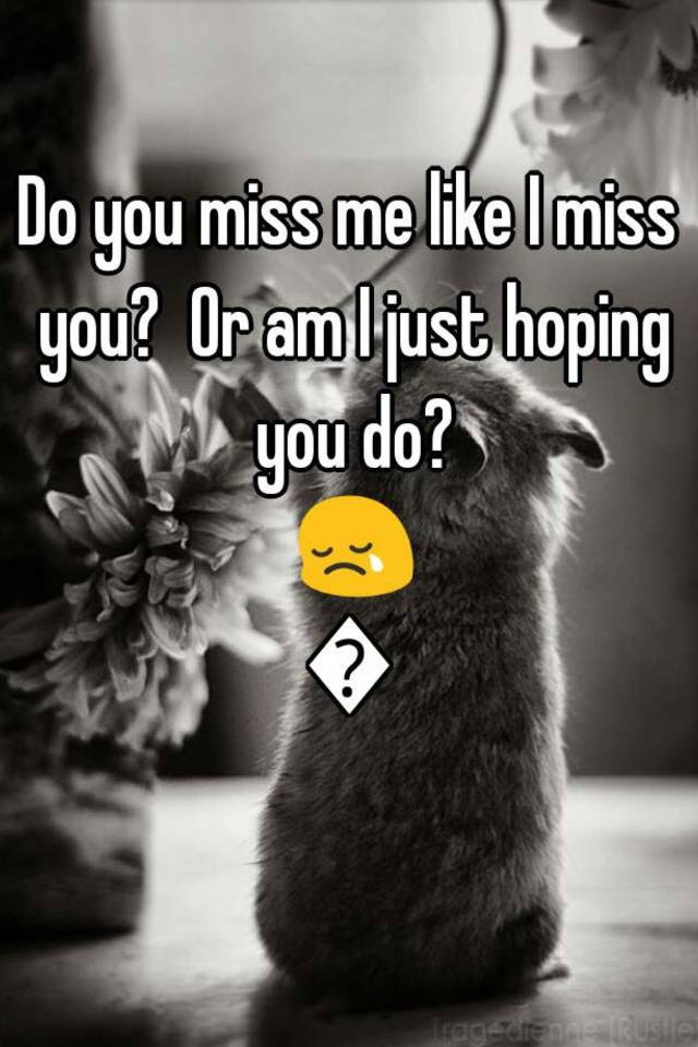 Do You Miss Me Like I Miss You Or Am I Just Hoping You Do