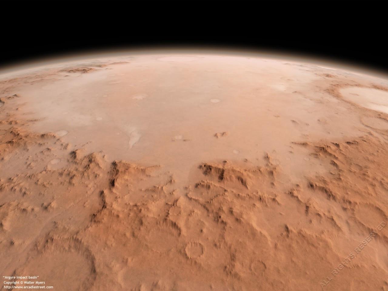 Planície de Argyre fotografada da órbita de Marte (Foto: Divulgação/NASA)