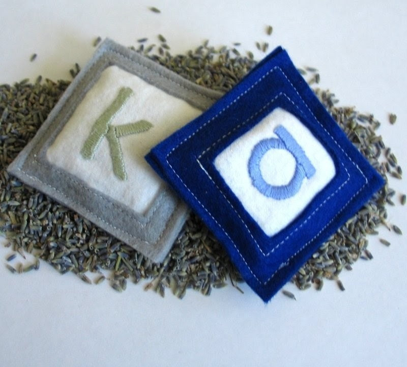 lavender sachets (set of 2) - customized and HAND-embroidered