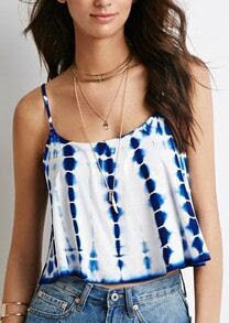 Blue White Spaghetti Strap Crop Cami Top